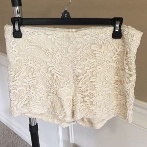 Size medium cream lace shorts